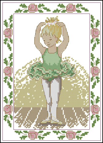 Cross stitch pattern to download for FREE in PDF file, print and embroider ballerina girl with green dress