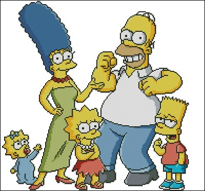 Cross stitch pattern to download for FREE in PDF, print and embroider The Simpsons