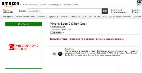 Mirror's Edge 2 listing for Xbox One
