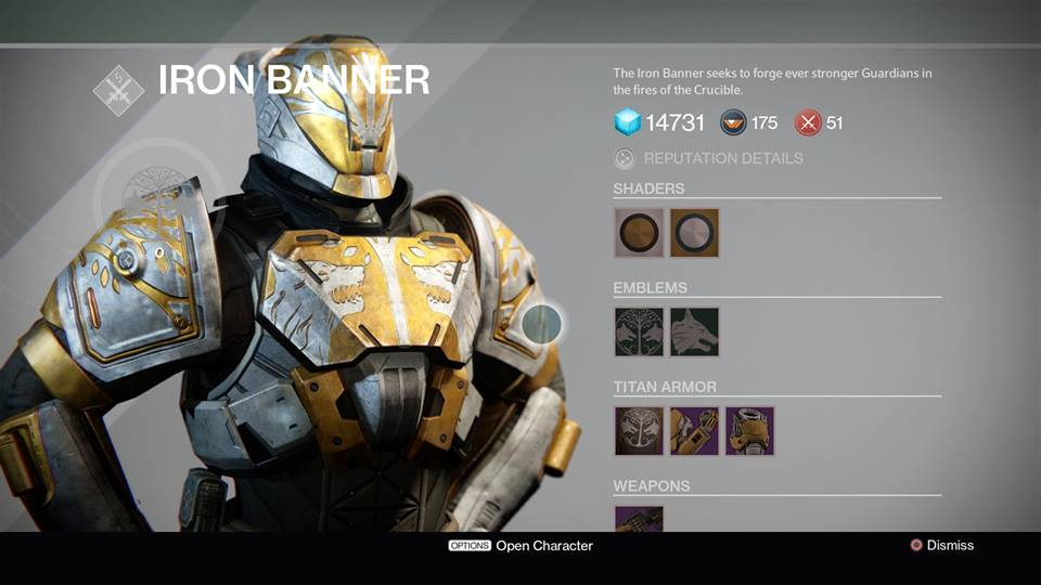 Destiny Iron Banner Weapon And Armor Rewards