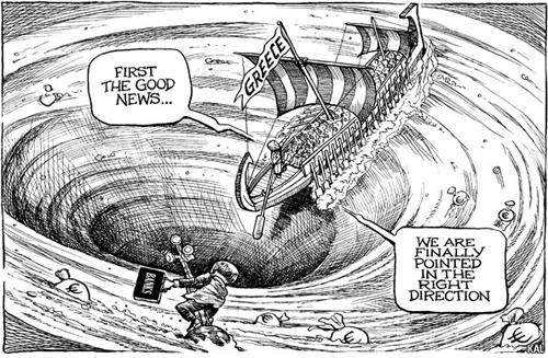 -Prima la buona notizia…-Stiamo finalmente andando nella giusta direzione.AUTORE: KALFONTE: The Economist, 8 ottobre 2011
