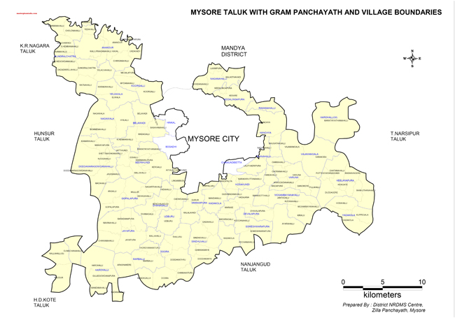 Mysore Taluk Gramapanchayth Villages Boundries Map