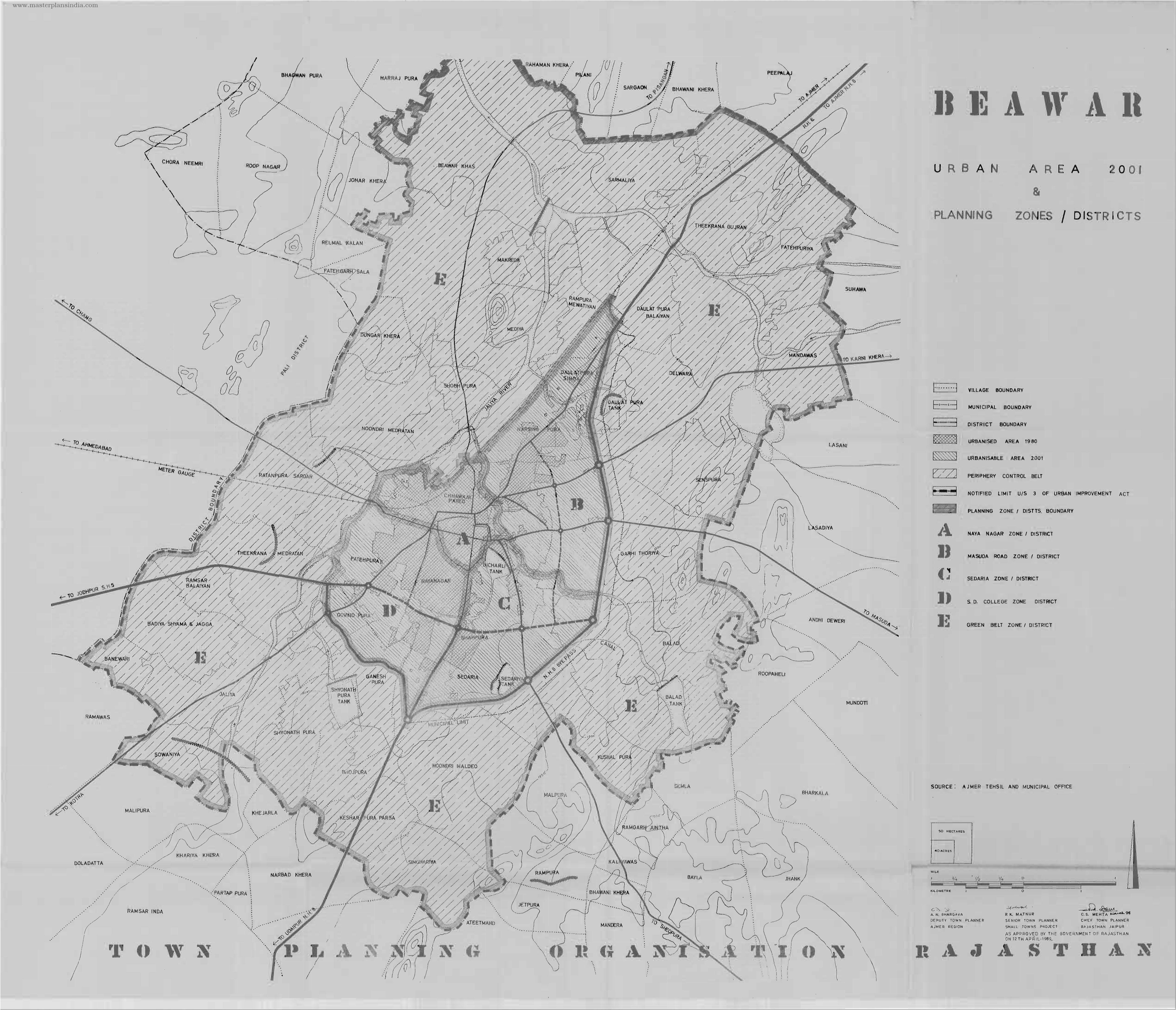 Beawar Urban Area Map PDF Download Master Plans India - Beawar map