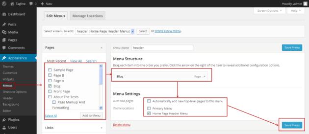 Wordpress make menu