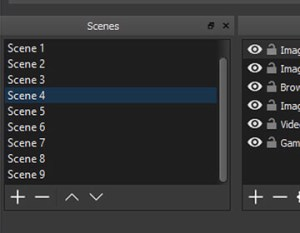 You can set up an infinite number of scenes you can switch between seamlessly via custom transitions.