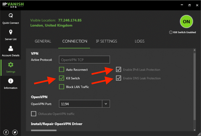 IPVanish VPN Settings