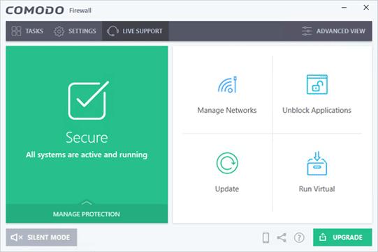 Comodo Firewall Dashboard