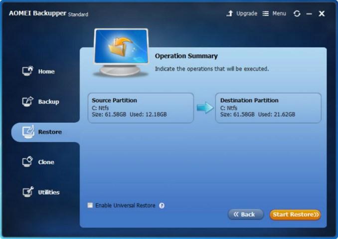 AOMEI Backupper restore