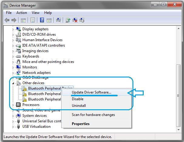 update driver menu