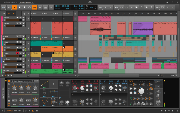 Bitwig studio software showing display screen