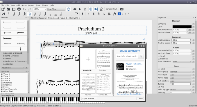 MuseScore Main Windows
