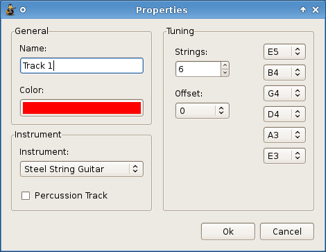 This Guitar Software showing Properties