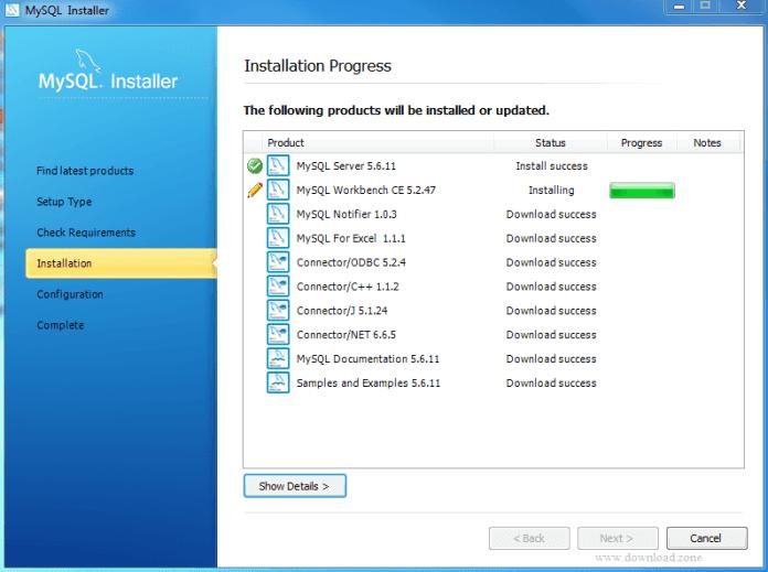 installation progress of MySQL