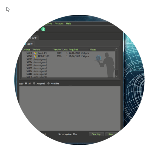 LightWave 3D Software shows License Server 2019.1 Option