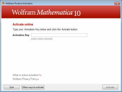 Wolfram Product Activation