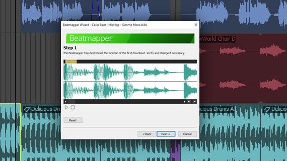 ACID Pro software showing beatmapper feature