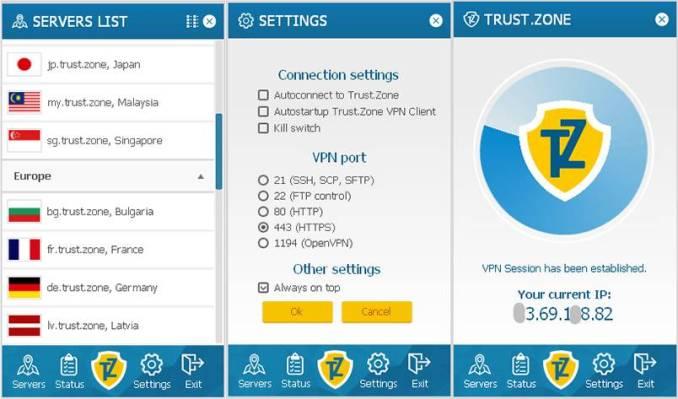 Trust.Zone VPN software showing display screen