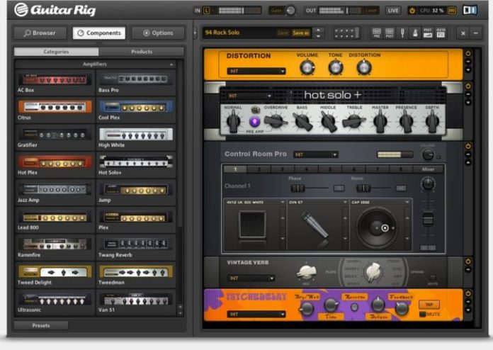 GUITAR-RIG-5-Player-Software-showing -display-screen