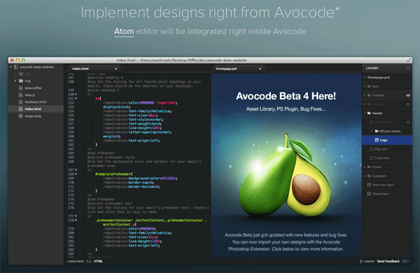 Avocode Sketch Design without open sketch