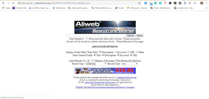 11 th website - aliweb - the first ever search engine