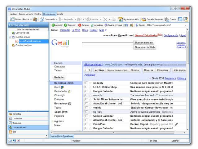 DreamMail Email Client For Access Gmail Account