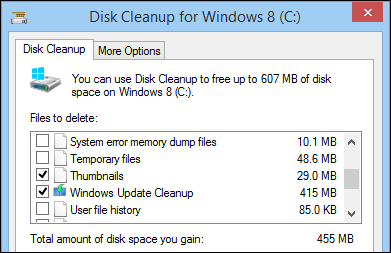 thumbnails and windows update cleanup