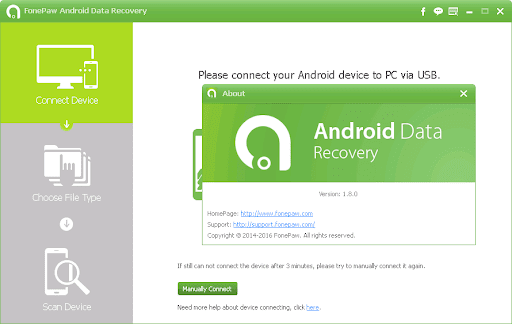 Android Data Recovery Connect Device