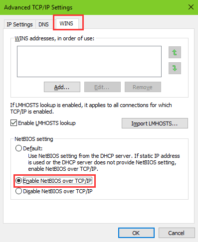 netbios setting during fixing no Internet secured error