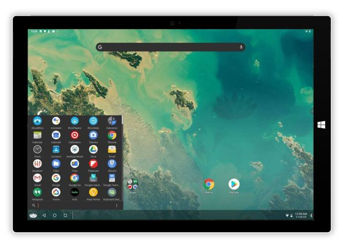 Bliss OS Android Menu