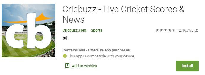 Cricbuzz on google store