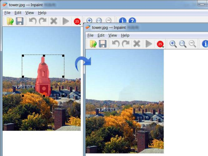 Inpaint software to remove object from photo