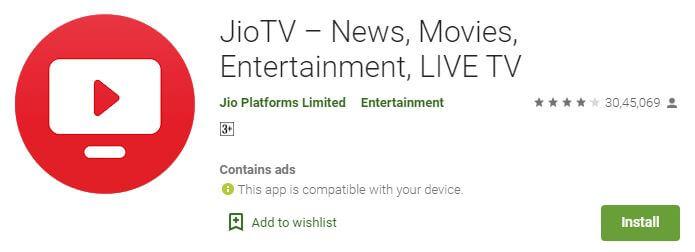 JioTv on google store