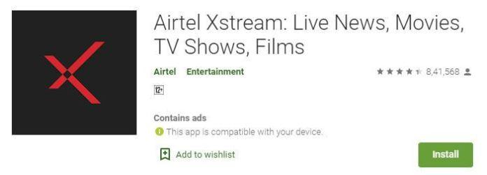 airtel xtream on google store