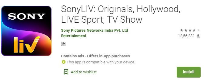 sony live on google store