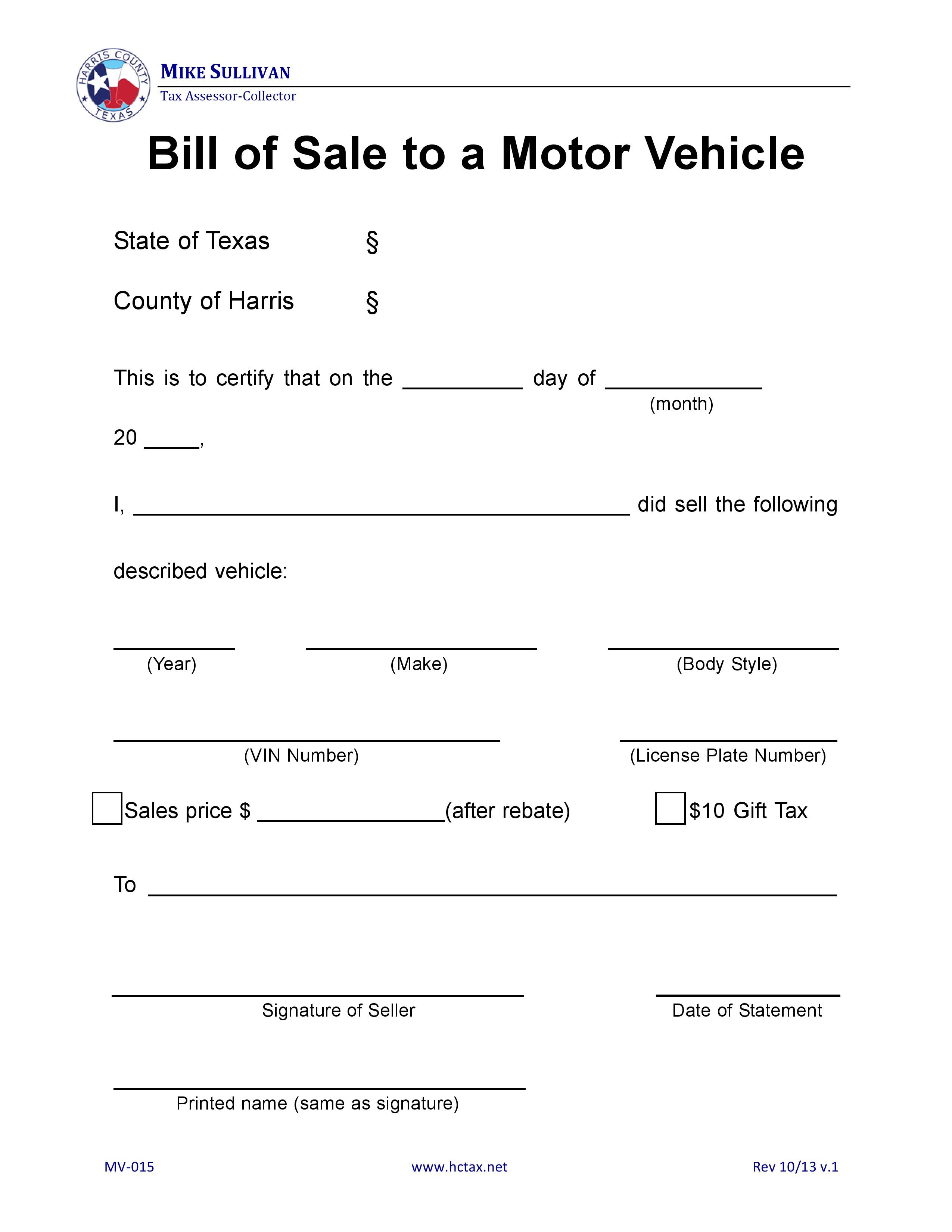 Free Harris County Texas Motor Vehicle Bill Of Sale Mv 015 Pdf .
