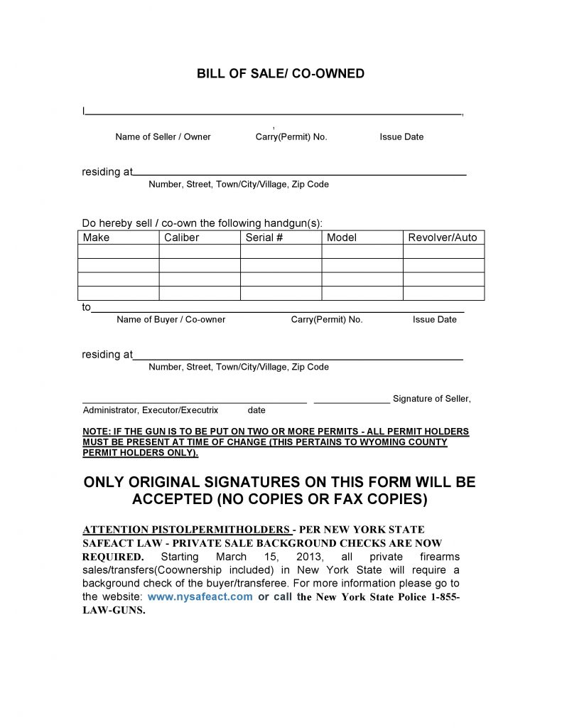 New York Firearms Bill Of Sale Form