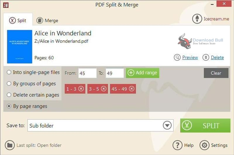 Download Portable IceCream PDF Split & Merge 3.4