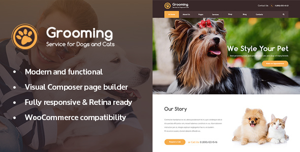 Pet Grooming v1.0.2 - Pet Shop / Veterinary Theme Nulled Free