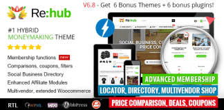 REHub v6.8.9.5 - Price Comparison, Affiliate Marketing, Multi Vendor Store, Community Theme