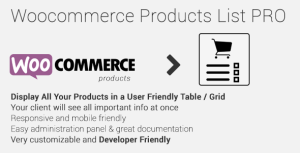 Woocommerce Products List Pro v1.1.4