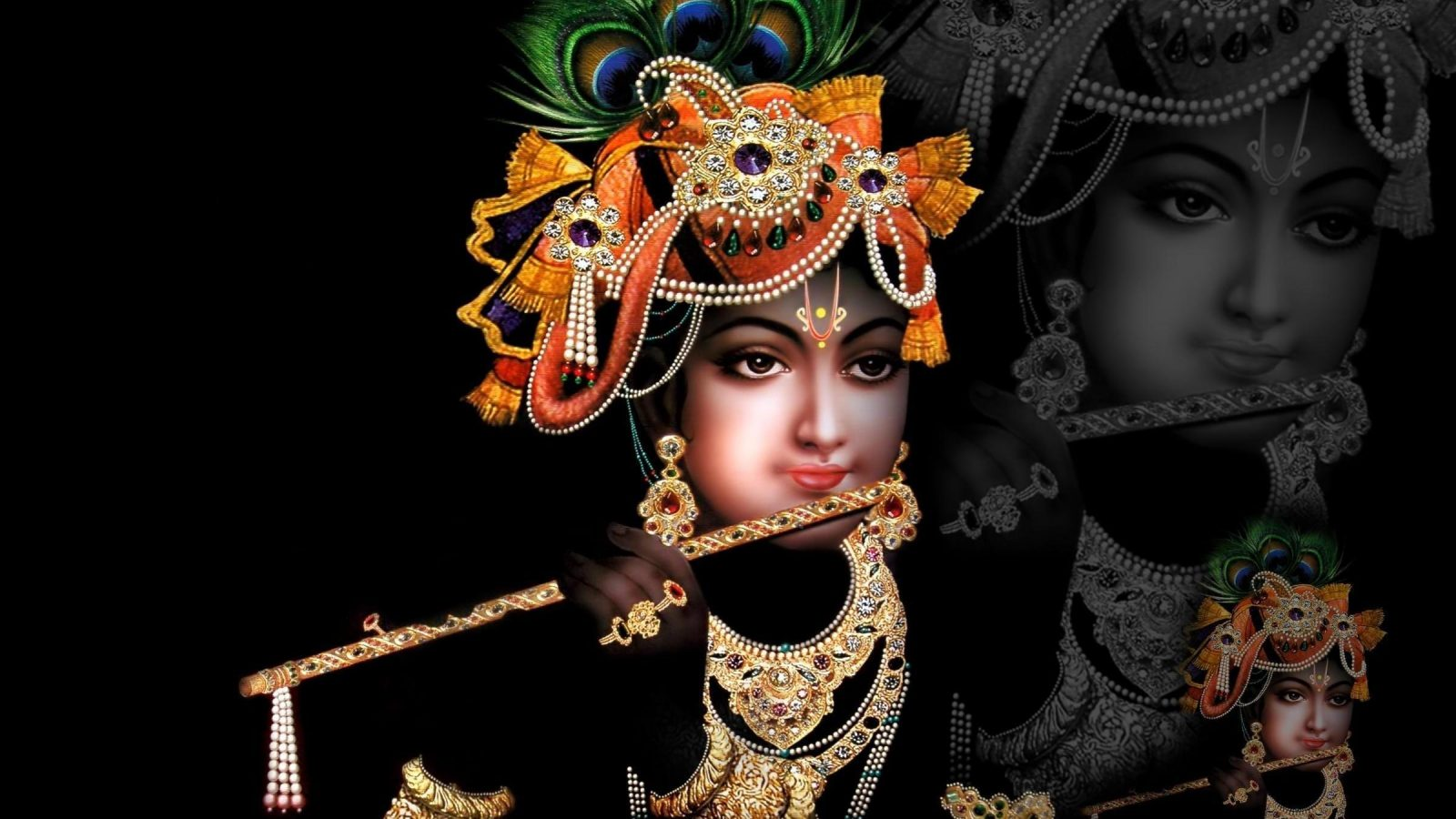 Free Animated Christmas Wallpaper For Iphone 5 Shri Krishna In Black Background Download Hd Wallpaper