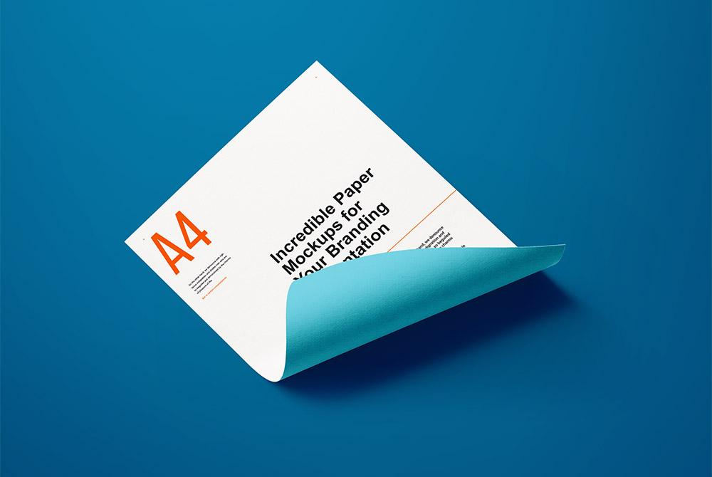 Download A4 Curled Paper Mockup PSD | Download Mockup