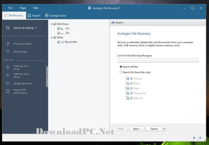 Auslogics File Recovery Professional 9 Full Version Interface