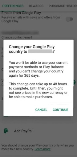 Click Continue to Change Country in Google Play Store