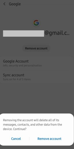 Hit Remove account-Sign Out of Google Play Store