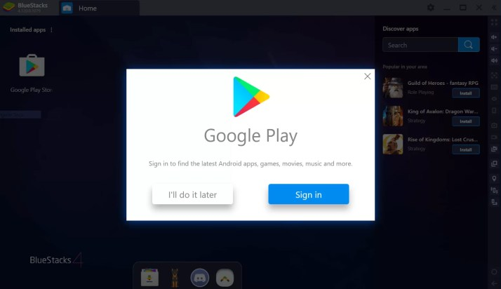 Select Sign In - Play Store for Mac