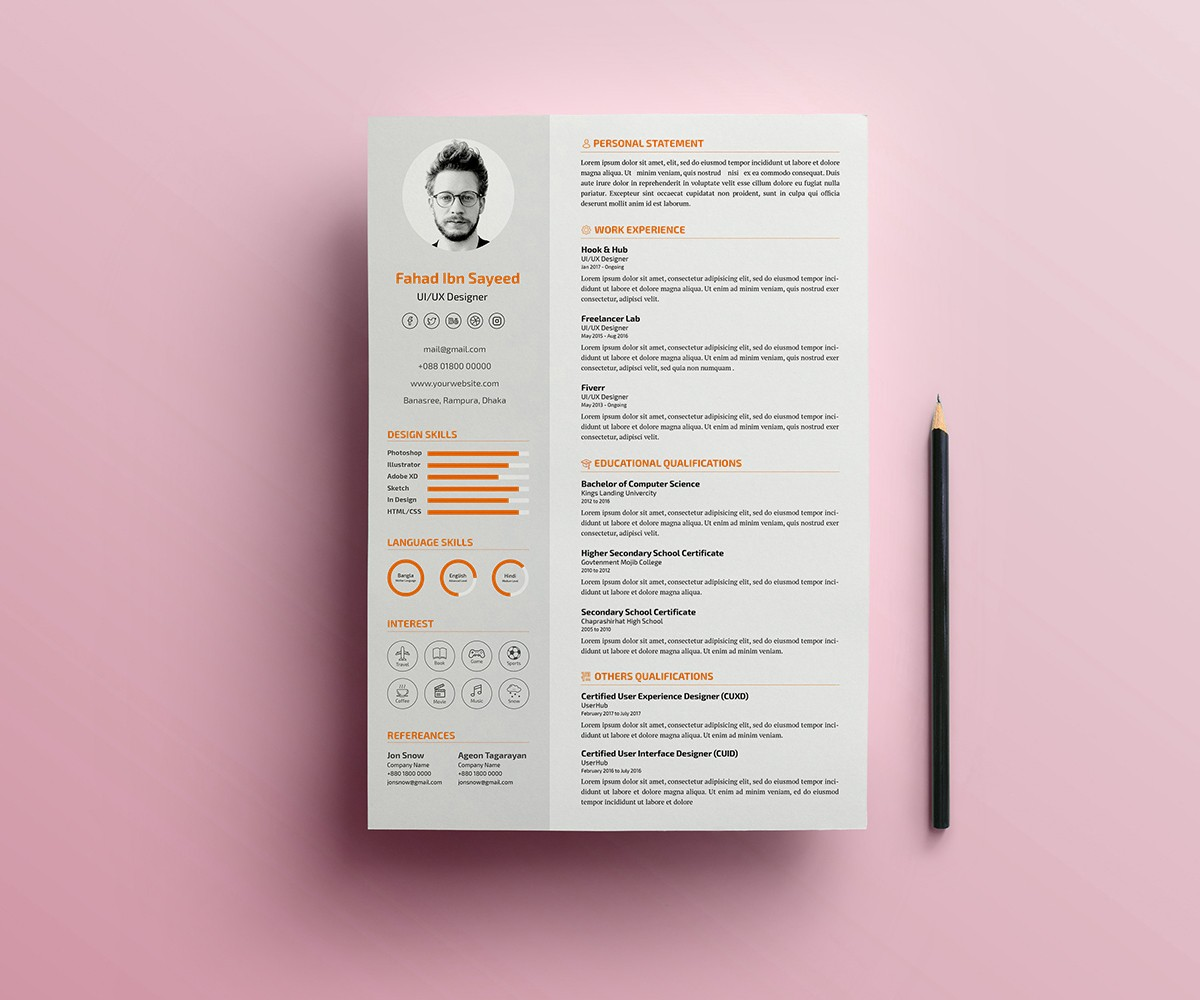 Resume Psd Template Simple Cv Resume Psd Template Download Psd