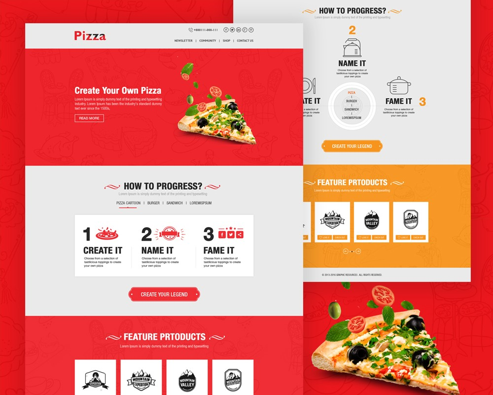 Pizza Website Template Free PSD Download Download PSD