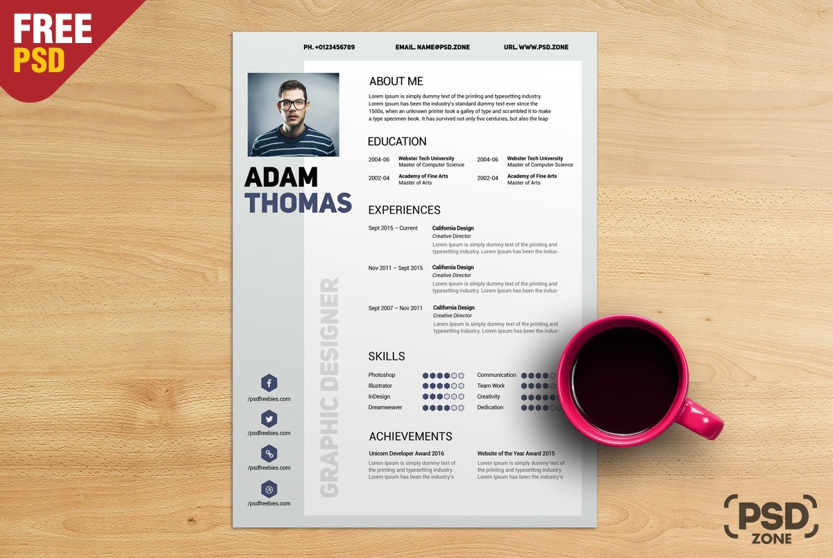 Resume Psd Template Free Resume Cv Template Psd Download Psd