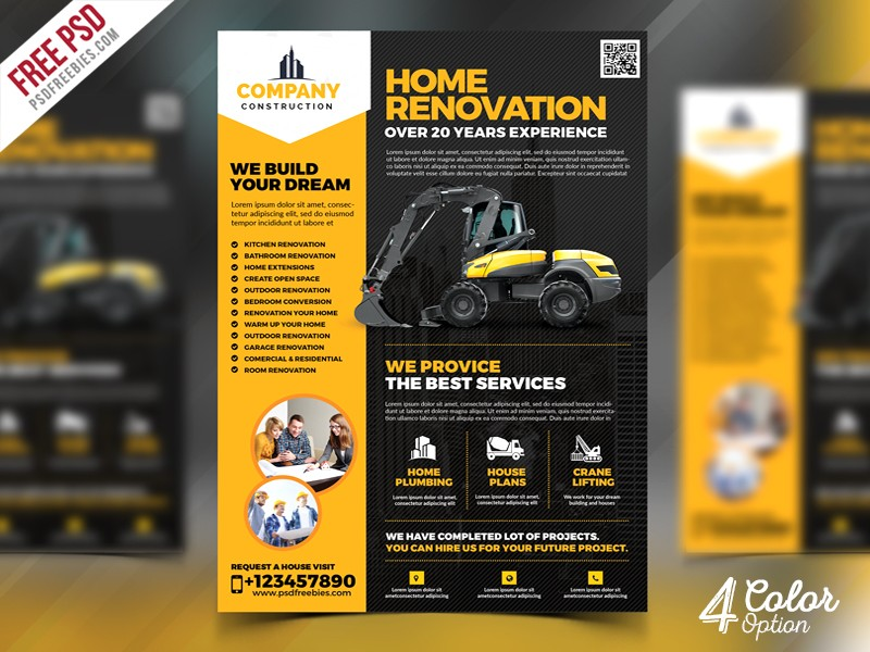 Construction Company Flyer Template PSD Download PSD